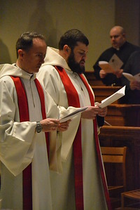 Nine Saint Vincent seminarians from four dioceses and two monasteries were instituted to the Ministry of Reader on Monday, April 11 by Most Rev. David A. Zubik, Bishop of Pittsburgh. Archabbot Douglas R. Nowicki, O.S.B.; Very Rev. Edward Mazich, O.S.B.; Rev. Patrick Cronauer, O.S.B., of Saint Vincent Seminary. Faculty members and alumni were among the concelebrants. The ministry of reader permits these seminarians to proclaim the readings (other than the Gospel) at Mass and other sacred celebrations. Instituted were Paul Wu, Archdiocese of Beijing; Michael Grady and Samuel Rodgers, Diocese of Covington; Matthew Marinelli and Michael Tabernero, Diocese of Metuchen; Michael Faix and Jordan Sonnett, Diocese of Pittsburgh; Brother Conrad Wald, O.S.B., Saint Andrew Abbey and Brother George DeFazio, O.S.B., Saint Vincent Archabbey.