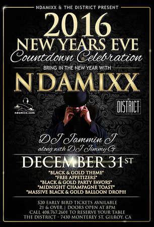 2016 NEW YEARS EVE COUNTDOWN CELEBRATION WITH NDAMIXX & THE DISTRICT