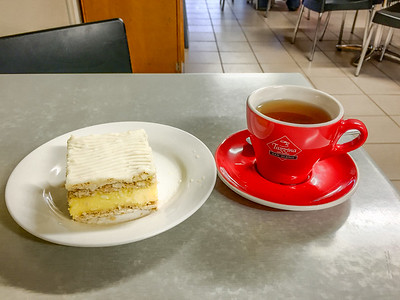 English breakfast tea and vanilla slice