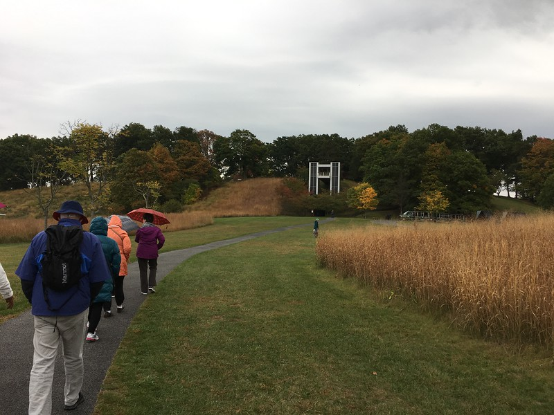 Walking in a slight drizzle at Storm King
