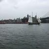 Brooklyn Bridge and sloop