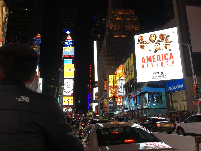 Times Square from a pedicab