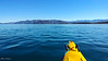 View from the kayak. Looking south from Kaikoura's South bay.