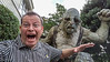 Being chased by a troll at the Weta Workshop.