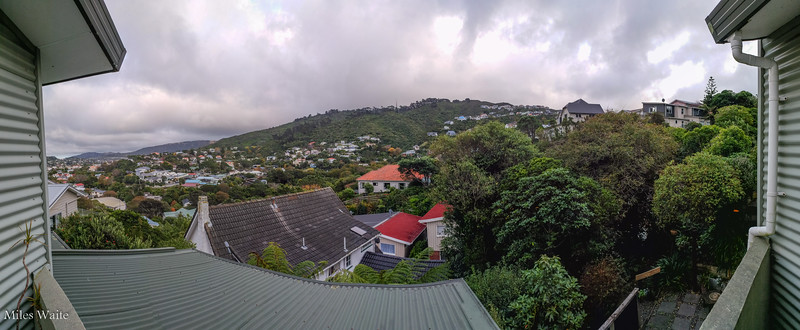 The view from the balcony where I'm staying. A view of the suburbs on the hills just west of Wellington.