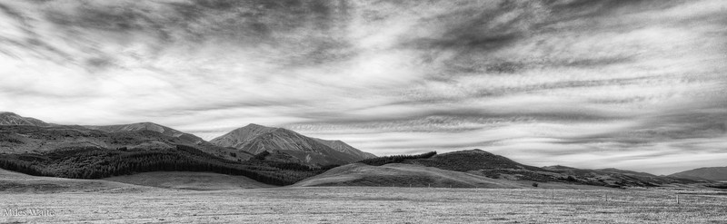 Black and white version, first mountains as I leave the flat planes of the Christchurch area on my way to Arthurs Pass.