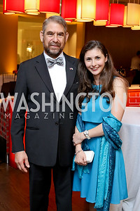 Cyprus Amb. Leonidas Pantelides and Diana Konstantinidi. Photo by Tony Powell. 2016 Ambassadors Ball. Marriott Marquis. September 13, 2016