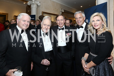 Robert Gates, Brent Scowcroft, Gen. David Patraeus, John Huntsman, Mary Kaye Hunstman. Photo by Tony Powell. 2016 Atlantic Council Distinguished Leadership Awards. May 3, 2016