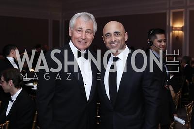 Chuck Hagel, UAE Amb. Yousef Al Otaiba. Photo by Tony Powell. 2016 Atlantic Council Distinguished Leadership Awards. May 3, 2016