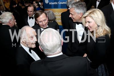 Brent Scowcroft, Gen. David Patraeus, John Huntsman, Mary Kaye Hunstman, Robert Gates. Photo by Tony Powell. 2016 Atlantic Council Distinguished Leadership Awards. May 3, 2016