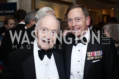 Brent Scowcroft, Gen. David Patraeus. Photo by Tony Powell. 2016 Atlantic Council Distinguished Leadership Awards. May 3, 2016