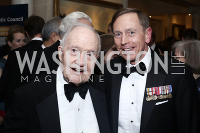 Brent Scowcroft, Gen. David Patraeus. Photo by Tony Powell. 2016 Atlantic Council Distinguished Leadership Awards. May 3, 2016