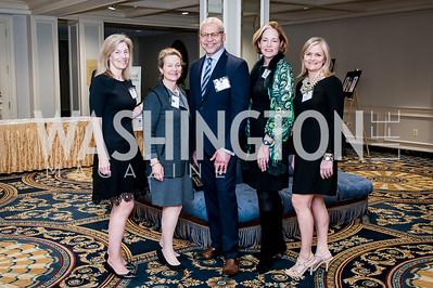 Nancy Sidamon-Eristoff, Renee Gardner, James Woody, Tricia Pinkard, Stephanie Cromwell. Photo by Tony Powell. Bishop Walker School Dinner. Willard Hotel. March 3, 2016