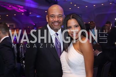 Michael Wilbon, Reisha Raney. Photo by Tony Powell. 2016 Fight Night. Washington Hilton. November 10, 2016