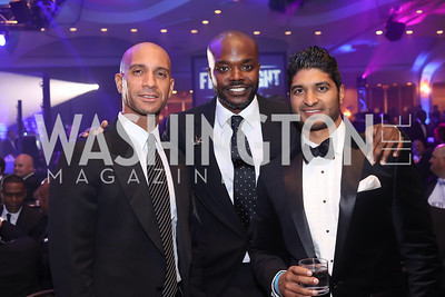 Adrian Fenty, Rudy Thomas, Vinoda Basnayake. Photo by Tony Powell. 2016 Fight Night. Washington Hilton. November 10, 2016