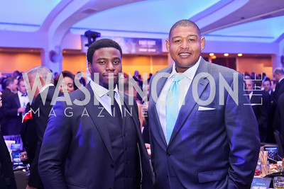 """Hamilton"" Star Okieriete Onaodowan, Actor Omar Miller. Photo by Tony Powell. 2016 Fight Night. Washington Hilton. November 10, 2016"