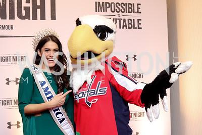 Miss World America Audra Mari, Washington Capitals mascot Slapshot. Photo by Tony Powell. 2016 Fight Night. Washington Hilton. November 10, 2016