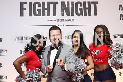 Whitney Hutcherson, America's Got Talent Singer Sal Valentinetti, Liz Tejeda, Monique Terry. Photo by Tony Powell. 2016 Fight Night. Washington Hilton. November 10, 2016