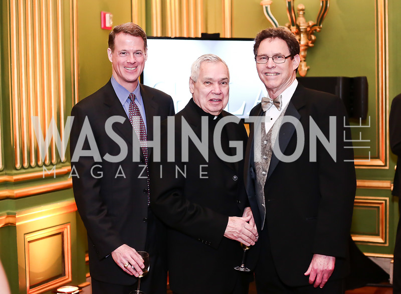 Jonathan Spohrer, Fr. John Jordan, Jim Wolf. Photo by Tony Powell. 2016 Georgetown Pediatrics Gala. Mellon Auditorium. April 2, 2016
