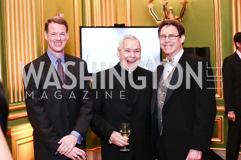 Jonathan Spohrer, Fr. John Jordan, Jim Wolf. Photo by Tony Powell. 2016 Georgetown Pediatrics Gala. Mellon Auditorium. April 2, 2016