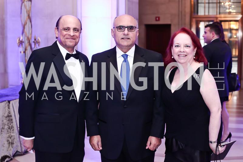 Talal Nsouli, Nail Al-Jubeir, Georgetown Pediatrics Gala Founder Mary Hoobler. Photo by Tony Powell. 2016 Georgetown Pediatrics Gala. Mellon Auditorium. April 2, 2016