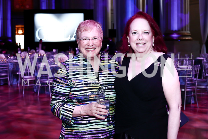 Leslie Nelson, Georgetown Pediatrics Gala Founder Mary Hoobler. Photo by Tony Powell. 2016 Georgetown Pediatrics Gala. Mellon Auditorium. April 2, 2016
