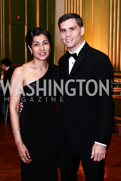 Dipti Patel-Donnelly, Department Chair Dr. Michael Donnelly. Photo by Tony Powell. 2016 Georgetown Pediatrics Gala. Mellon Auditorium. April 2, 2016