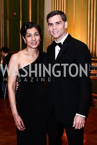 Dipti Patel-Donnelly, Department Chair Dr. Michael Donnelly. Photo by Tony Powell. 2016 Georgetown Pediatrics Gala. Mellon Auditorium. April 2, 2016