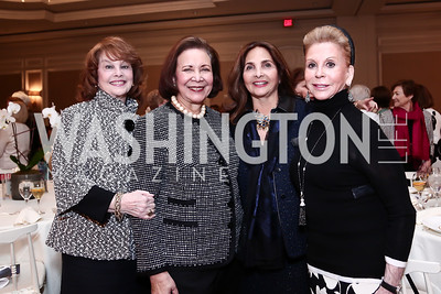 Ann Hand, Alma Powell, Samia Farouki, Wilma Bernstein. Photo by Tony Powell. 2016 Great Ladies Luncheon. Ritz Carlton. April 13, 2016