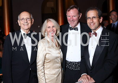 Justice Stephen Breyer, Sally Quinn, Don Graham, Fred Hiatt. Photo by Tony Powell. 2016 Harman Gala. Building Museum. September 25, 2016