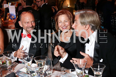 Michael Klein, Maxine Isaacs, Elliott Gerson. Photo by Tony Powell. 2016 Harman Gala. Building Museum. September 25, 2016