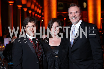 Joel Friedman, Jenny Bilfield, Mark O'Connor. Photo by Tony Powell. 2016 Harman Gala. Building Museum. September 25, 2016