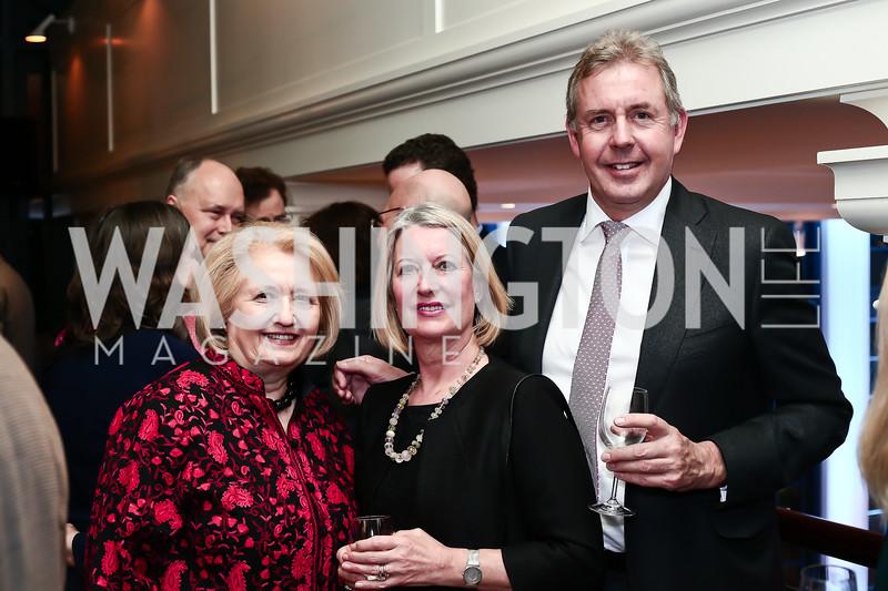 Melanne Verveer, Vanessa Darroch and Britain Amb. Kim Darroch. Photo by Tony Powell. 2016 Hillary Rodham Clinton Awards Dinner. Halcyon House. February 22, 2016