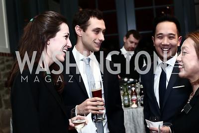 Megan Brew, Sam Pressler, Eric Shih, Sachiko Kuno. Photo by Tony Powell. 2016 Hillary Rodham Clinton Awards Dinner. Halcyon House. February 22, 2016