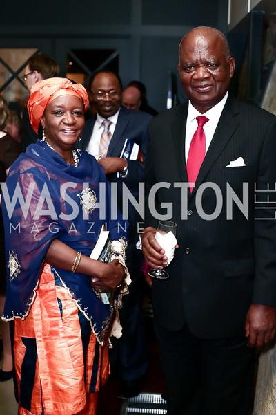 Zainab Bangura, Sierra Leone Amb. Ibrahim Conteh. Photo by Tony Powell. 2016 Hillary Rodham Clinton Awards Dinner. Halcyon House. February 22, 2016