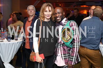 Jill Diamond, WBC Fecarbox Champion DeMarcus Corley. Photo by Tony Powell. 2016 Hope for Henry Benefit. Pinstripes. September 20, 2016