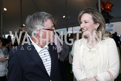 Gary Falconer, Rep. Barbara Comstock. Photo by Tony Powell. 2016 Lobster Extravaganza. Peterson Residence. May 7, 2016