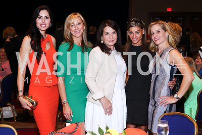 """Amy Baier, Jean-Marie Fernandez, Anna Trone, Karen Donatelli, Stacey Lubar. Photo by Tony Powell. 2016 MS """"Women on the Move"""" Luncheon. Wardman Park. May 19, 2016"""