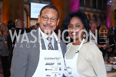 Rep. Sanford Bishop and Vivian Bishop. Photo by Tony Powell. 2016 March of Dimes Gourmet Gala. Building Museum. May 17, 2016