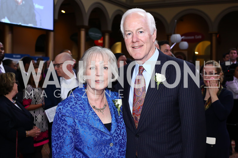 Sandy Cornyn and Sen. John Cornyn. Photo by Tony Powell. 2016 March of Dimes Gourmet Gala. Building Museum. May 17, 2016