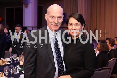 Phil Mendelson, Ana Harvey. Photo by Tony Powell. Mary's Center Noche Tropical Gala. October 28, 2016