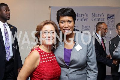 Mary's Center President and CEO Maria Gomez, Mayor Muriel Bowser. Photo by Tony Powell. Mary's Center Noche Tropical Gala. October 28, 2016