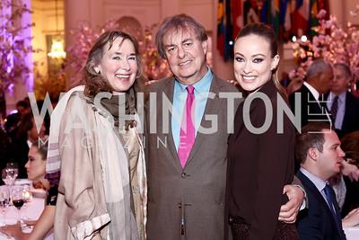 Leslie and Andrew Cockburn, Olivia Wilde. Photo by Tony Powell. 2016 McGovern-Dole Leadership Award. OAS. April 12, 2016