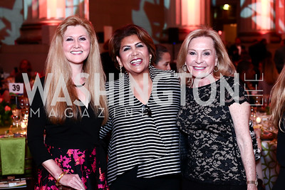 Piper Larson, Charo Abrams, Janie McNamara. Photo by Tony Powell. 2016 NRH Gala. Mellon Auditorium. April 20, 2016