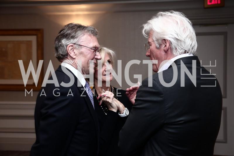 Tom Daschle, Linda Daschle, Richard Gere. Photo by Tony Powell. 2016 N Street Village Gala. Ritz Carlton. March 15, 2016