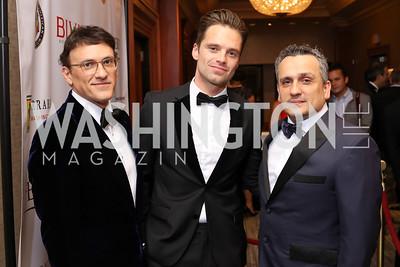 Joseph Russo, Sebastian Stan, Anthony Russo. Sebastian Stan. Photo by Tony Powell. 2016 NIAF Gala. Marriott Wardman Park. October 15, 2016