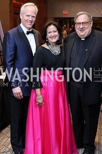 Tim McBride, Anita McBride, Monsignor Peter Vaghi. Photo by Tony Powell. 2016 NIAF Gala. Marriott Wardman Park. October 15, 2016