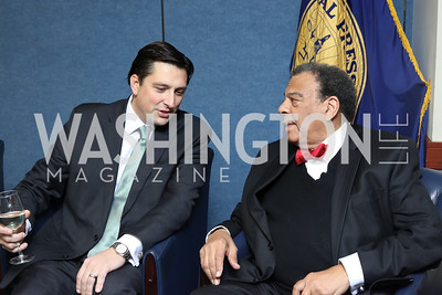 Andrew Gelfuso, Amb. Andrew Young. Photo by Tony Powell. 2016 National Dialogue Awards. Press Club. November 17, 2016