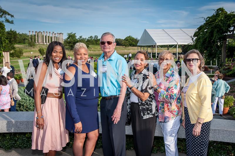 Tonya Alstan, Jacque Manning, William Kummings, Cynthia Greene, Mattie Coates, Ruth Kummings. Photo by Tony Powell. 2016 National Arboretum Dinner. June 13, 2016