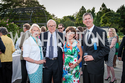 Franki Roberts and Senator Pat Roberts, Linda and Cal Dooley. Photo by Tony Powell. 2016 National Arboretum Dinner. June 13, 2016